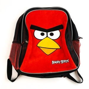 "Angry Birds Large 16"" Fuzzy Plush Backpack"